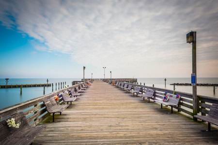 fishing pier: The fishing pier in North Beach, Maryland. Stock Photo