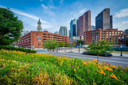 Gardens at North End Park with view of buildings in downtown, in the North End, Boston, Massachusetts.