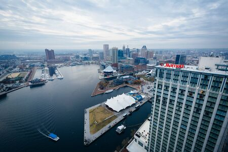 maryland: Aerial view of the Inner Harbor of Baltimore, Maryland. Editorial