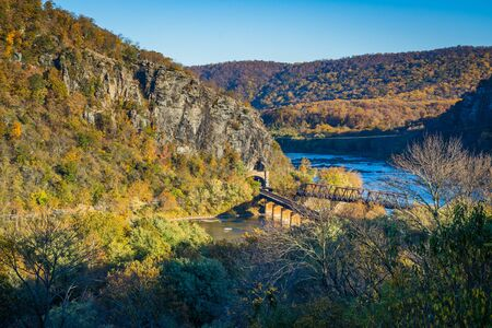 View of railroad bridges and the Potomac River, in Harpers Ferry, West Virginia. Stock Photo