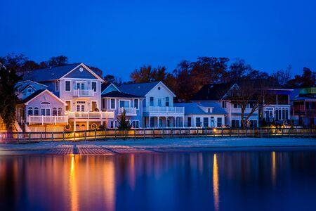 beachfront: Beachfront houses at night, in North Beach, Maryland. Stock Photo
