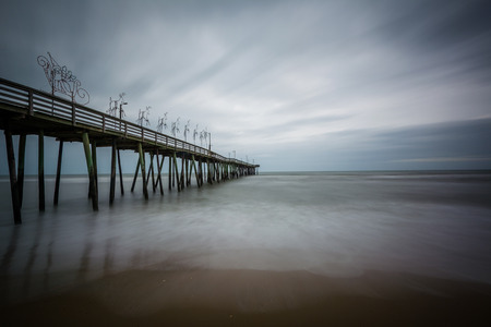 fishing pier: Long exposure of the fishing pier and Atlantic Ocean, in Virginia Beach, Virginia.