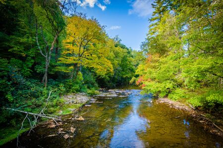 The Linville River near Linville Falls, along the Blue Ridge Parkway in North Carolina. Stock Photo