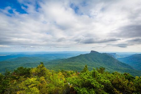 wnc: View of the Blue Ridge Mountains from Hawksbill Mountain, on the rim of Linville Gorge, in Pisgah National Forest, North Carolina.