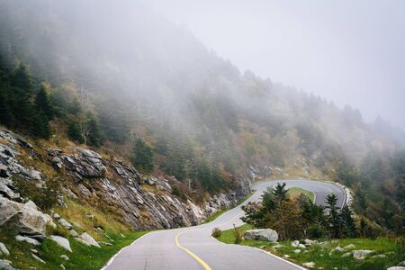 wnc: The road to Grandfather Mountain in fog, at Grandfather Mountain, North Carolina.