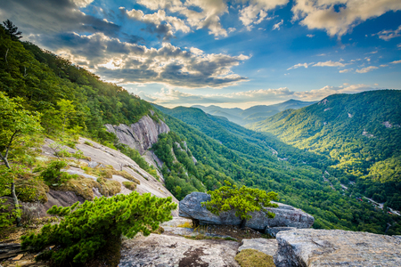 View of mountains at sunset from Chimney Rock State Park, North Carolina. Stock Photo