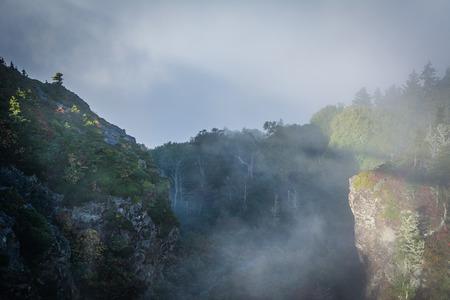 The Mile High Swinging Bridge in fog, at Grandfather Mountain, North Carolina.