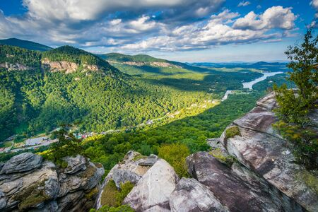 View of Lake Lure and surrounding mountains from Chimney Rock State Park, North Carolina.