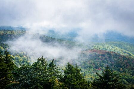 wnc: Foggy view of the Blue Ridge Mountains from Grandfather Mountain, North Carolina.
