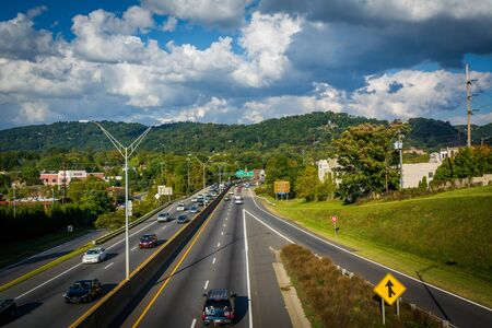 Interstate 240, in downtown Asheville, North Carolina. 写真素材