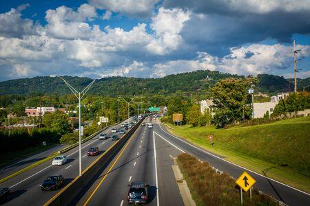 Interstate 240, in downtown Asheville, North Carolina. 版權商用圖片