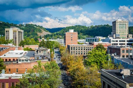 View of buildings in downtown and Town Mountain, in Asheville, North Carolina.