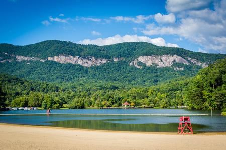 Beach on Lake Lure, in Lake Lure, North Carolina. Stock Photo