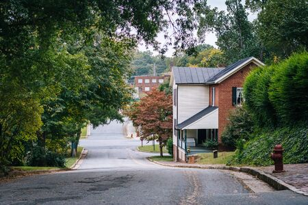 Street and houses in the Old Salem Historic District, in Winston-Salem, North Carolina. Stock Photo