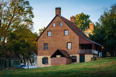 historic district: Old brick house in the Old Salem Historic District, in Winston-Salem, North Carolina.