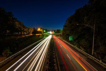 Interstate 40 Business at night, in downtown Winston-Salem, North Carolina.