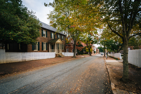 historic district: Main Street and old houses in the Old Salem Historic District, in Winston-Salem, North Carolina. Stock Photo