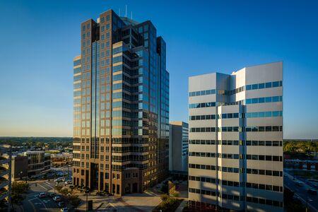 View of modern buildings in downtown Greensboro, North Carolina.