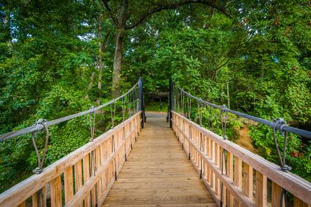 charlotte: Bridge over Little Sugar Creek, at Freedom Park, in Charlotte, North Carolina. Stock Photo