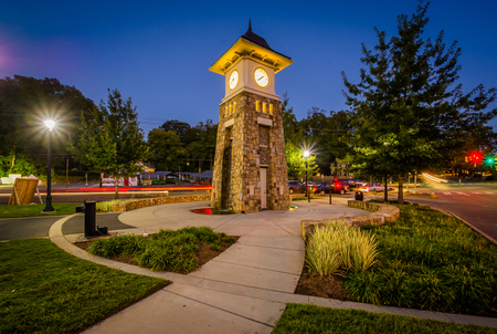 Clock tower at night, along the Little Sugar Creek Greenway, in Charlotte, North Carolina.