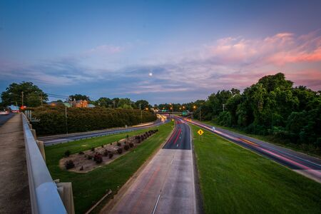 Long exposure of traffic on the Andrew Jackson Highway from the Central Avenue Bridge, in Charlotte, North Carolina Stock Photo