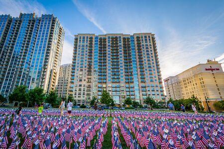 September 11th Memorial Flags at Romare Bearden Park, in Uptown Charlotte, North Carolina.