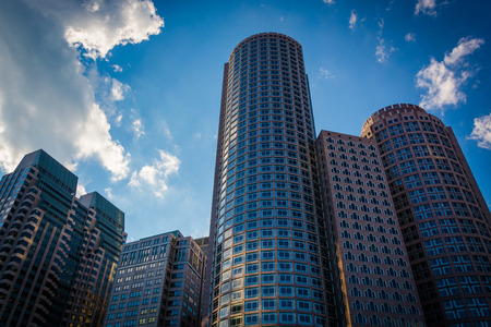 financial district: Skyscrapers in the Financial District, in Boston, Massachusetts. Stock Photo