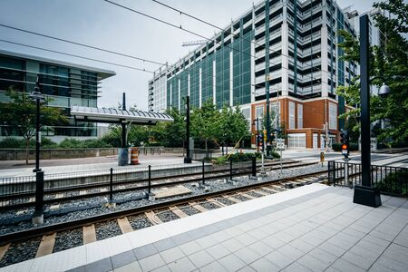 charlotte: Railroad tracks in Uptown Charlotte, North Carolina. Stock Photo