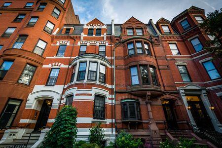 brownstone: Historic brick buildings in Back Bay, Boston, Massachusetts.