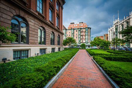 Brick walkway and buildings in Back Bay, Boston, Massachusetts.
