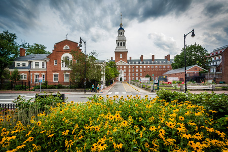 Flowers and the Lowell House, at Harvard University, in Cambridge, Massachusetts. Editorial
