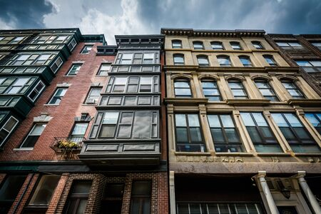 Historic buildings in the North End of Boston, Massachusetts.