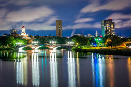 The John W. Weeks Bridge and Charles River at night, in Cambridge, Massachusetts. Stock Photo