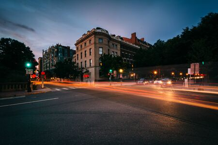 Long exposure of traffic at the intersection of Charlesgate and Commonwealth Avenue, in Back Bay, Boston, Massachusetts. Reklamní fotografie