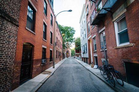 Narrow street in the North End of Boston, Massachusetts. Stock Photo