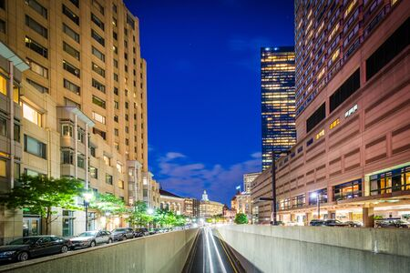 Underpass and buildings along Huntington Avenue at night, in Back Bay, Boston, Massachusetts.