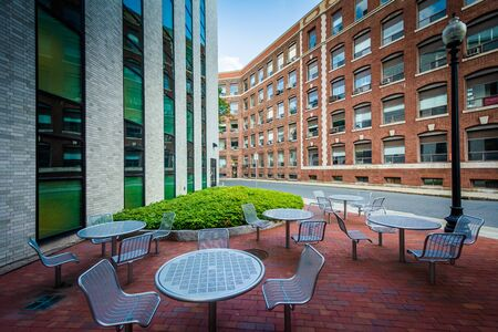 seating area: Seating area and buildings at Northeastern University, in Boston, Massachusetts.