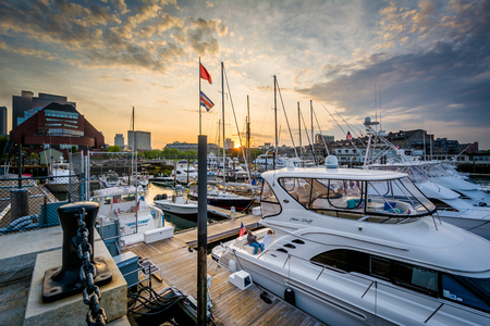 Sunset over a marina on the waterfront in the North End of Boston, Massachusetts. Editorial
