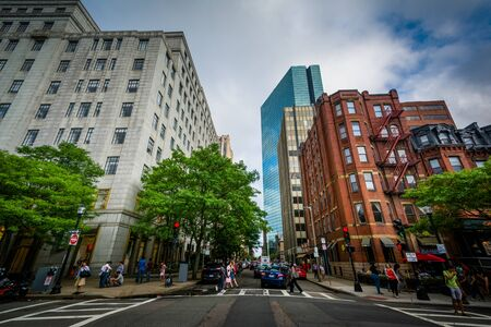 Intersection and buildings in Back Bay, Boston, Massachusetts.