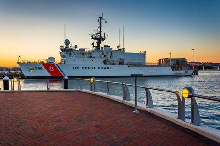 United States Coast Guard ship in the Boston Inner Harbor, in Boston, Massachusetts. Stock Photo