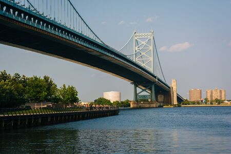 The Benjamin Franklin Bridge, in Philadelphia, Pennsylvania. Stock Photo