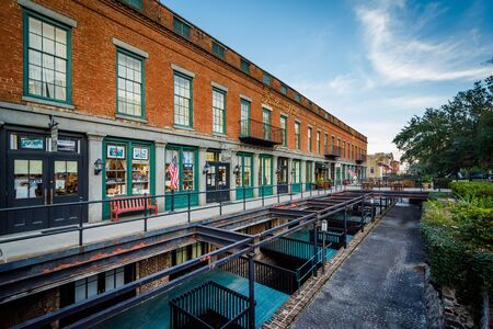 Old brick building along Bay Street, in Savannah, Georgia. Editorial