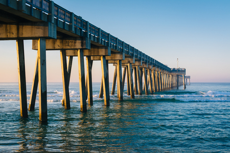 Morning light on the M.B. Miller County Pier and Gulf of Mexico, in Panama City Beach, Florida. Stock Photo