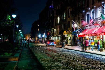 River Street at night, in Savannah, Georgia.