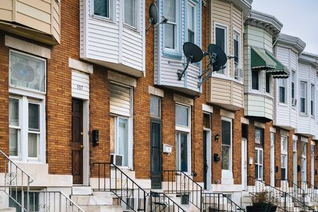 rowhouses: Rowhouses in Greektown, in Baltimore, Maryland.