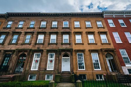 rowhouses: Rowhouses at Franklin Square, in Baltimore, Maryland. Editorial