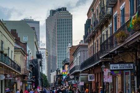 Buildings along Royal Street, in the French Quarter, New Orleans, Louisiana.