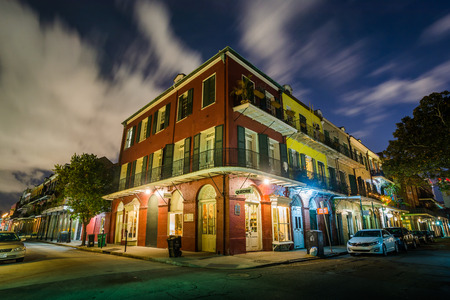 Buildings in the French Quarter at night, in New Orleans, Louisiana.