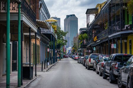 Street and buildings in the French Quarter, New Orleans, Louisiana. Editorial