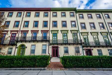 rowhouses: Rowhouses at Franklin Square , in Baltimore, Maryland.